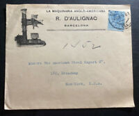 1916 Barcelona Spain Advertising Cover To New York USA Anglo American Machine
