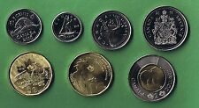 2016 CANADA 7 PIECE COIN SET UNCIRCULATED FROM MINT ROLLS CANADIAN 5¢ - $2