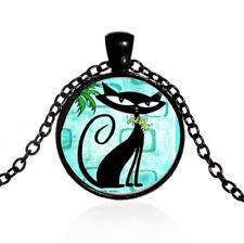 Vintage Cat Collage Cabochon Black Glass Chain Pendant Necklace