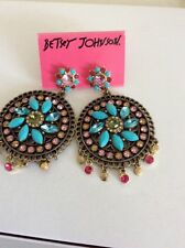 """Betsey Johnson """"Turqs and Caicos"""" Faceted Bead Filigree Round Drop Earrings B26"""