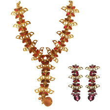 Pink Gold Stone Color Long Necklace & Matching Earrings New Fashion Jewelry Set