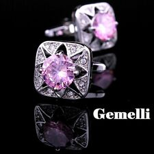 stupendo Rosa cristallo GEMELLI CAMICIA UOMO el SWAROVSKI CERIMONIA matrimonio