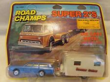 Yatming Road Champs Super 2'S Ford Station Wagon Exxon Mobile Trailer Die-Cast