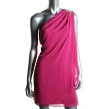 JS BOUTIQUE ~ Fuchsia Draped Chiffon Beaded One Shoulder Party Dress 2 NEW $198