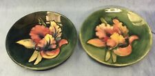 Moorcroft Pair Antique Small Plates Dish Orchid Design Green Pink Blue 12cm VGC
