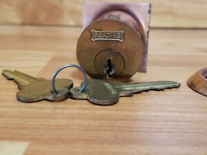 Vintage Brass Reading Cylinder Lock w/ Key ~ Door Hardware
