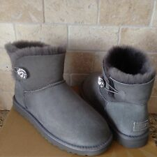 UGG Mini Bailey Button Bling Swarovski Gray Grey Suede Boots Size US 9 Womens