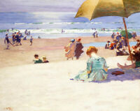 Hour Tide Edward Henry Potthast Painting Print on Canvas Giclee Repro SMall 8x10