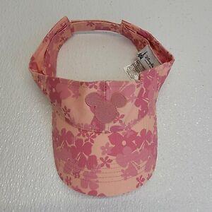 Disney Parks Mickey Mouse Floral Embroidered Pink Visor Adjustable Adult Size