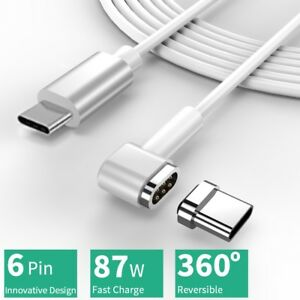Magnetic USB Type C Cable | 4.3A 87W Fast Charge QC 3.0 & PD | 6 Pin Reversible