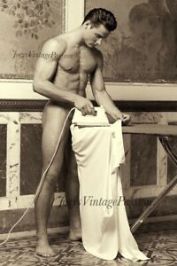 """Vintage Hot Man with Muscles Ironing Shirt Gay Interest 4""""x6"""" Reprint Photo G28"""