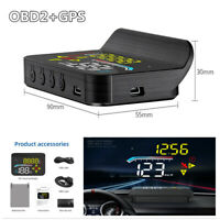 Car Head Up Display OBD2 GPS HUD Projector Speedometer Overspeed Warning Alarm