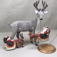 2x Santa in Sleigh w Reindeer Plastic Ornaments