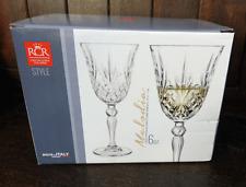 RCR Italian Crystal - Boxed Set of Six Melodia Design White Wine Goblets - BNIB