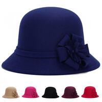 Fashion Vintage Ladies Womens 100% Wool Felt Bucket Hat Cloche Derby Bowler Cap