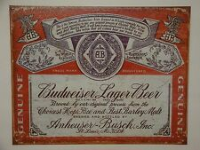 "Vintage Style ""Budweiser Lager Beer""  Metal Sign Man Cave Garage Decor  S79"