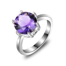 10MM Round Cut Mystical Purple Amethyst Gems Silver Ring US Size 7 8 9
