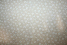 WHITE PUFFY FLOWERS ON TAN FLANNEL - 100% COTTON FABRIC