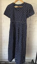 Vintage Grunge Navy & White Spot Polka Dot Midi Dress With Back Tie 90's Size 8