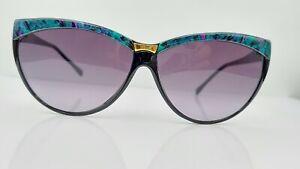Vintage Morgan Taylor 444 Black Green Purple Cat-Eye Sunglasses Frames Italy