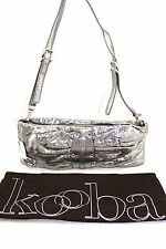 $345 KOOBA Erin Metallic Silver Snake Leather Convertible Clutch Shoulder Bag