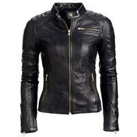 Women's Black Slim Fit Biker Moto Club Style Cafe Real Lambskin Leather Jacket
