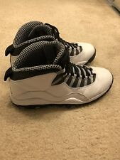 "Retro Air Jordan 10 X ""Steel"" Size 10.5 BLACK WHITE VARSITY RED LIGHT GREY"