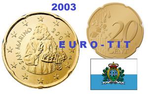 20   CENTIMES   SAINT  MARIN    2003    NEUVE    ASSEZ  RARE    disponible