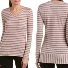 CAbi Size Small Skipper Tee Top Gray Red Tan Striped High Low V Neck 3055