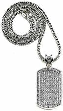 "Drake Silver Platinum Iced CZ Dog Tag Pendant Necklace w 36"" Franco Snake Chain"