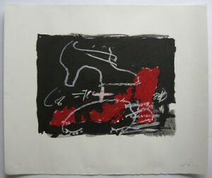 Antoni Tapies (1923-2012) Chaussure rouge Orig Lithografie 1975 Barcelona