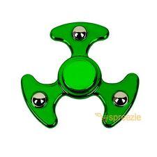 Green Fidget Hand Spinner Toy Anxiety Stress Relief Focus EDC UFO Metallic ADHD