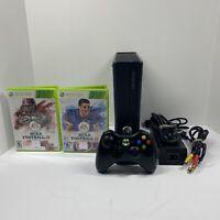 Microsoft Xbox 360 S Slim 4 GB Console Bundle w/ Controller NCAA 11 & 12 Tested