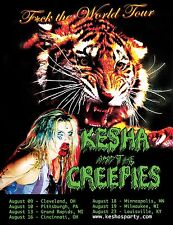 """KESHA & THE CREEPERS """"F*CK THE WORLD TOUR"""" 2016 U.S. CONCERT POSTER- Dance Music"""