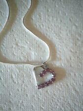 Pink Crystal Heart On A Sterling Silver Snake 20' Chain