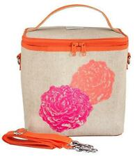 So Young PVC free Insulated Large Cooler Bag - Orange & Pink Peonies