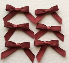 30 Tiny Burgundy Wine bows Made From 6mm Satin Ribbon- card making/scrap booking