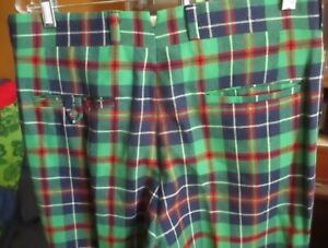 34x29 True Vtg 70s CHIPP WOOL GREEN/RED/BLUE MOD PLAID PANTS KNIT SLACKS