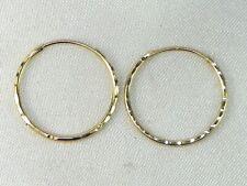 14k Yellow Gold .585 Petite Fancy Cut Hoop Earrings
