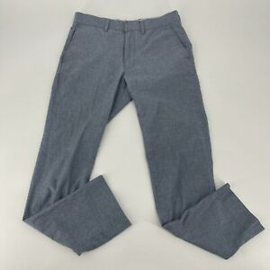 J.Crew Dress Pants Mens Size 29 x 28 Heather Blue Chambray Bedford Slim Trousers