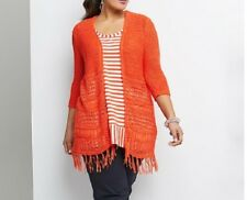 Plus Size Orange Long Tassel Knitted Cardigan 3/4 Sleeves RRP $120 Size 16 Or S