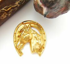 Brass Large Horse In Horseshoe Stamping ~ Jewelry Findings (Fb-6031)