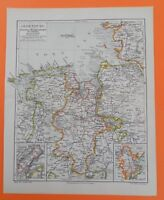 OLDENBURG Deutsche Strommündungen der  Nordsee Großherzogtum Landkarte von 1903