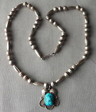 Vintage Navajo Silver Bench Bead Necklace Seafoam Turquoise Foliate Pendant