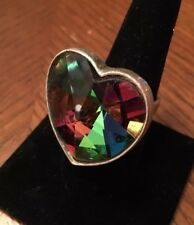 Sphere Ring * Size 9 Super Cool Vintage Heart Shaped Rainbow