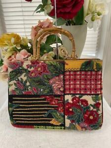Details about  /NWOT ISABELLA FIORE Brown Embellished Saddle Bag Crossbody Sequin Stud Floral