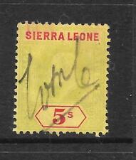 SIERRA LEONE  1907-12   5/-   KEVII   FISCAL  SG 110