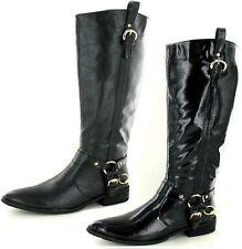 Zip Block Heel Spot On Patternless Boots for Women