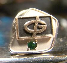 Vintage 10 K Gold Green Bay Packers Emerald Green Stone Lapel Pin Tie Tack