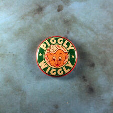 """Vintage Style Advertising Art Pinback Button 1"""" Piggly Wiggly Mascot Green 1950s"""